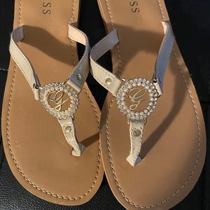 Nude Guess sandals with crystals